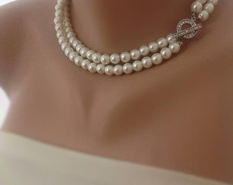 Pearl Necklace,Custom Bridal Jewelry Bridal Ivory Glass Pearl Necklace, brides, bridesmaids gifts