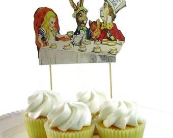 Alice In Wonderland Cake Topper, Vintage Alice in Wonderland Tea Party Centerpiece, Mad Hatter Tea Party Cake Topper, Birthday Cake Topper