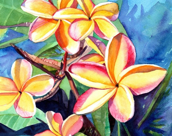plumeria art, 8x10 prints, plumeria artwork, paintings of plumeria, kauai artist, hawaiian art galleries, oahu maui, kauai fine art,