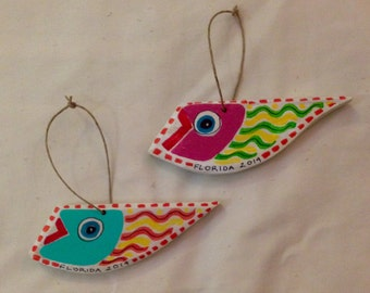 Magnets or for hangining, decorative reclaimed wood art- small fish