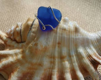 Sterling silver Cobalt blue sea glass ring - size 5.5