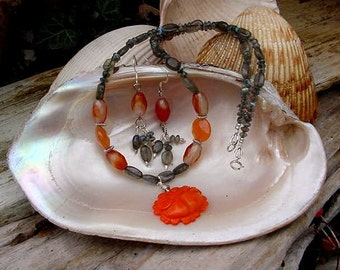 Carved Orange Coral, Labradorite and Agate Necklace Earring Set  9c10
