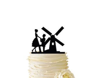 Proposal With Windmill - Acrylic or Baltic Birch Wedding/Special Event Cake Topper - 075