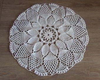 Handmade lace doily, round, white, crochet, diameter 42 cm