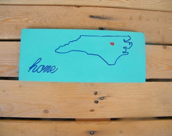 North Carolina State Wooden Sign