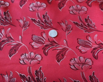 16 Vintage red print Satin...SO many possibilities