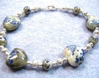 Blue and Gray Puff Glass Hearts Silver Beaded Handmade Bracelet, Valentine Gift, Chunky Heart Jewelry