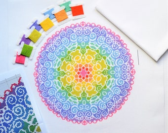 PATTERN Spectral Mandala Cross Stitch Chart - Colourful Modern Cross Stitch - Fun Rainbow Design