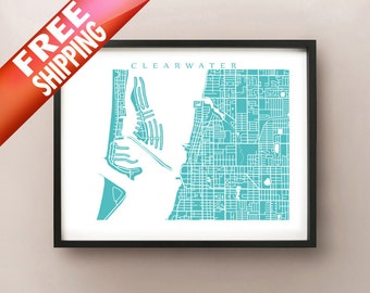 Clearwater Map Print - Florida Poster
