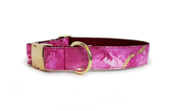 Valentines Day Dog Collar Marble With Gold Flecks Pink
