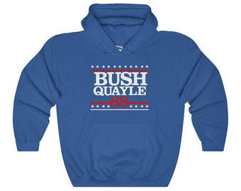 George H W Bush Hoodie - President Bush Shirt - Retro Political Shirts - Bush Quayle 88 Hooded Sweatshirt - Republican Hoodie