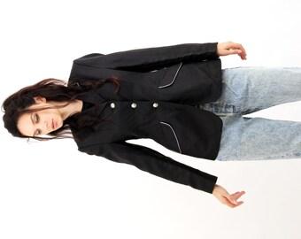 Vintage Black Fitted Short Jacket / Steeds / Classic Jacket / Elegant Jacket / Blazer / Formal Jacket / Suit Jacket / Size M