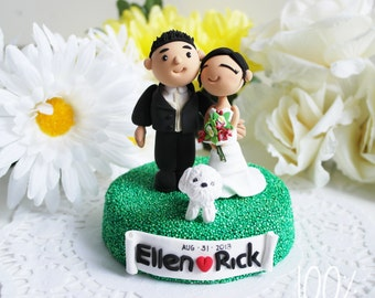 Custom Cake Topper- Couple with a puppy