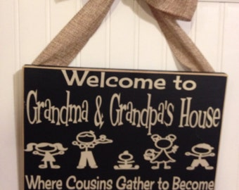 Welcome to Grandma and Grandpa's House Vinyl lettering board 8x10 inches