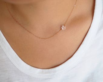 Dainty Rose Gold Necklace, Rose Gold Lotus Necklace, Sideways Lotus Necklace, Gift for Her