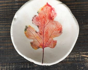 Ceramic Pressed Mulberry Leaf Orange Yellow and Green Watercolor Ring Dish (898)
