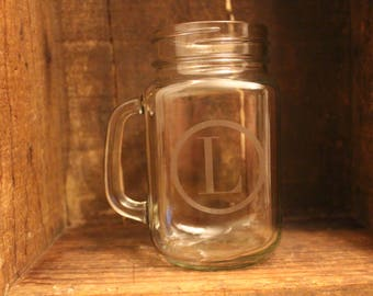 Etched Mason Jar Glass