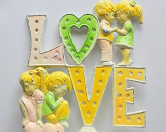 Vintage Revere Boy and Girl LOVE Earring Holder 1970s