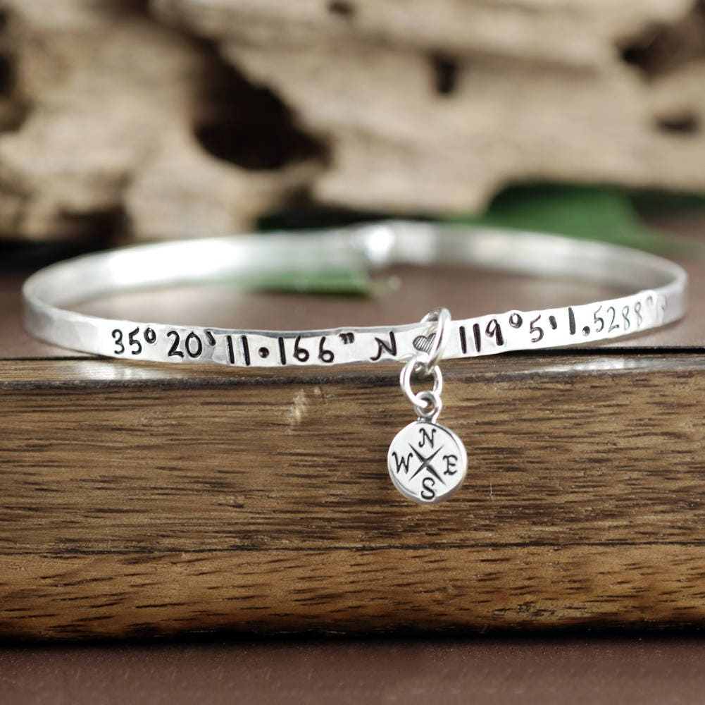 dp gift idea longitude coordinate cuff com handmade customized amazon personalized bracelet latitude jewelry