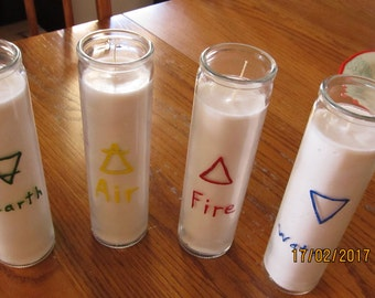 Four Elements Candle Set  Glass Candle Set Earth Air Fire Water