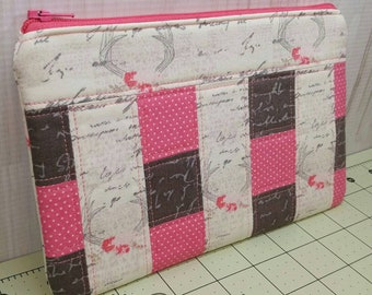 Pink and Gray Antlers Patchwork Zippered Pouch