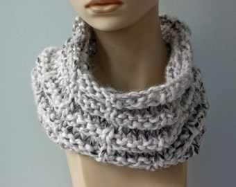 Gray Cowl Scarf, Chunky Scarf, Circle Scarf,  Knit Neck Warmer, Warm Winter Cowl , Ready to Ship
