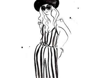 Summer Black and White Fashion Print Of Watercolor Illustration