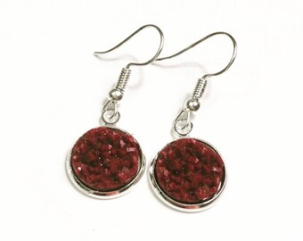 12mm Druzy Earrings, Maroon color, Hypoallergenic, Stainless Steel Earrings