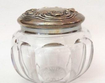 Vintage Pretty Glass Jar with Metal Lid
