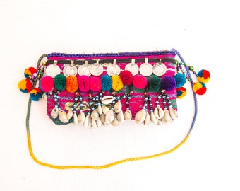 Banjara Clutch,Greek Clutch,Tribal Clutch,Ethnic Clutch, Festival Bag, Boho Clutch, Pompom Clutch Purse ,Clutch Bag, ,Colorful Hippie Clutch