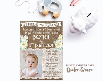 Neutral Baptism Invite Design, Photo baptism birthday invitation, White Baptism Invite, for boy or girl, 1st bday baptism invite, pdf jpg