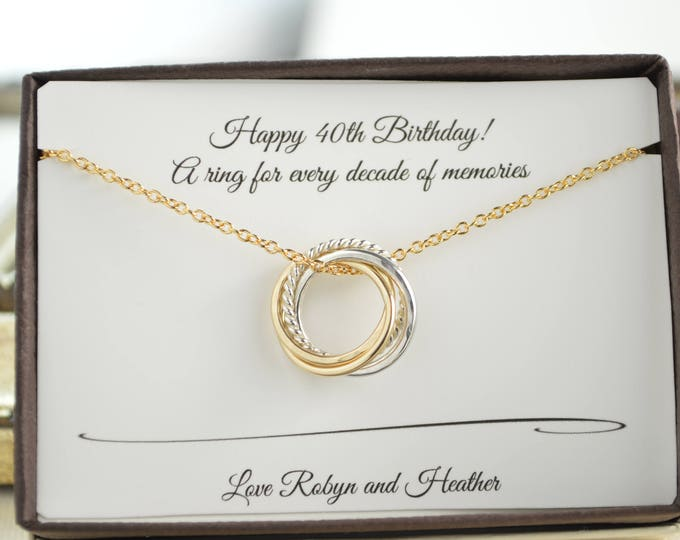 40th Birthday gift for her, 4 Mixed metals necklace, 4th Anniversary gift, Petite gold necklace, 4 Sisters gift, 4 Best friend necklace