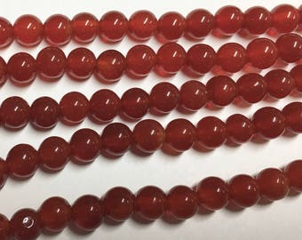 Carnelian 6mm Gemstone Rounds Approx 31 beads 8 Inch strand