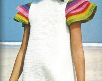 Crochet Girls cape-sleeved dress - pdf pattern