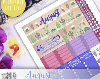 50% OFF! HAPPY PLANNER August Monthly View Kit – Printable Planner Stickers