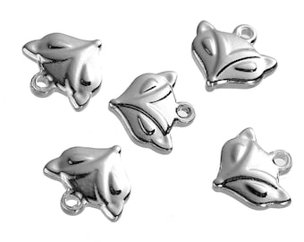 2 Stainless Steel Fox Charms Smaller Size 2 Sided - MT406