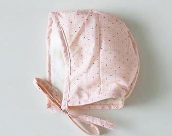 Bonnets - baby bonnets - pale pink polka newborn bonnet - toddler bonnets - pilot hat - newborn hats - floral bonnet - bonnets for girls