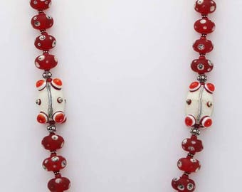 Red and Silvered Ivory Lampwork Glass Necklace, Red Statement Necklace, Artisan Jewelry, Handmade Necklace, Glass Bead Jewelry, Beads