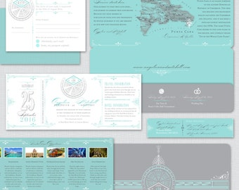 ANGELICA Vintage Inspired Boarding Pass Invite Suite, Airline Plane Ticket, Teal and Charcoal Gray, Travel Inspired Wedding Invitation,