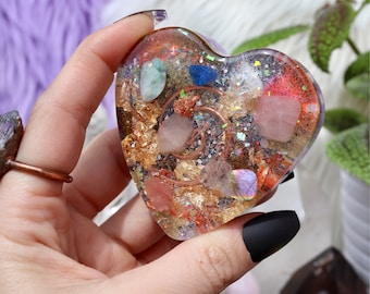 Orgonite® Heart - Love - EMF Protection - Handmade - Quartz Crystal - Crystals - HoodxHippie - Kunzite - Good Vibes- Mothers Day Gift