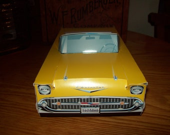 Retro  Vintage Classic Yellow 57 Chevy  Food Box Car box,Popcorn Box Kids Brithday Party Set of 5