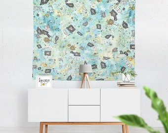 Shabby Chic Tapestry Abstract tapestries wall hanging art blue green sky wall art mixed media boho tapestry art original art tapestries
