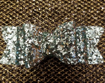 Double Stacked Teal Glitter Bow