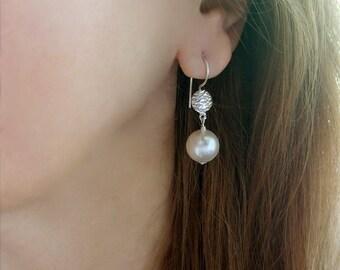 White Swarovski Pearl Earrings Sterling Silver Artisan Earwires Wedding Bridal Pearl Jewelry June Birthstone Anniversary Gift For Her