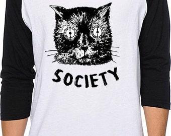 Anxiety Society RAGLAN Goth Punk Nervous Panic Stress Cat Worry Tee