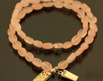 Natural Rose Quartz Beads Necklace // 925 Sterling Silver // Handmade Necklace Jewelry
