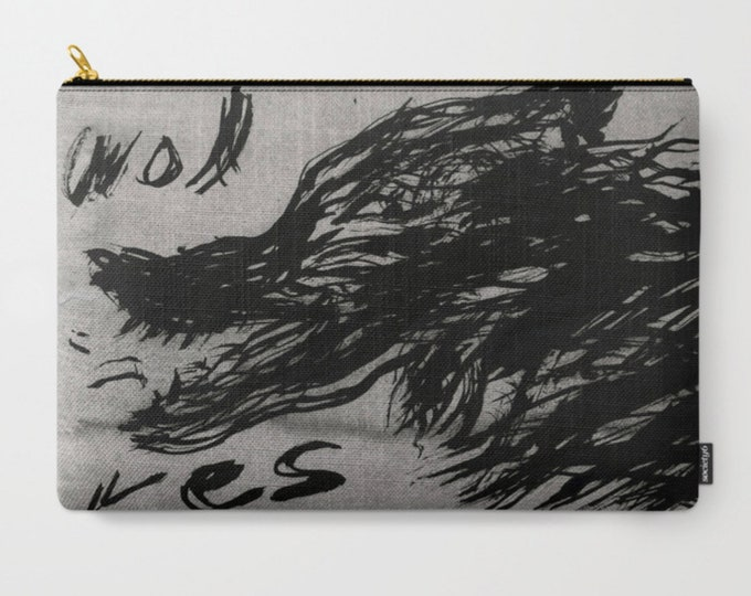 wolves / carry-all pouch / canvas carry pouch / art gift