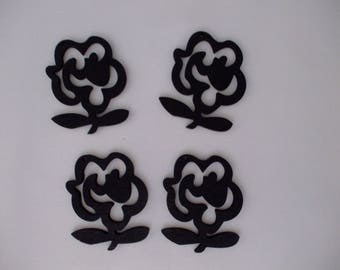 x 4 wooden 47 mm x 40 mm pendant or charm black flowers