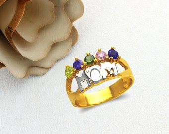 Mother's Day Gift 14K Real Solid Gold MOM Ring With Citrine Amethyst Emerald Pink Blue  Color CZ Band Size 5 to 9