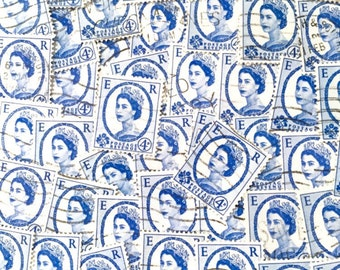 Light blue used, British, 4d wilding postage stamps all off paper for collage, stamp collecting, decoupage, scrapbooking and crafting